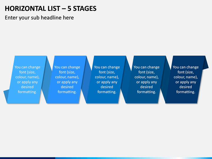 Horizontal List - 5 Stages PPT Slide 1