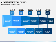 6 Parts Horizontal Funnel - Free PPT Slide 1