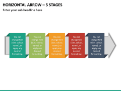 Horizontal Arrow - 5 Stages PPT Slide 2