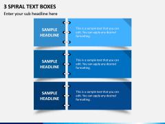 3 Spiral Text Boxes PPT Slide 1