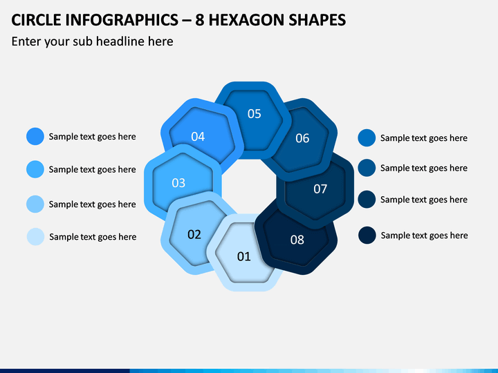Circle Infographics – 8 Hexagon Shapes PPT Slide 1