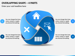 Overlapping Shape - 4 Parts PPT Slide 1