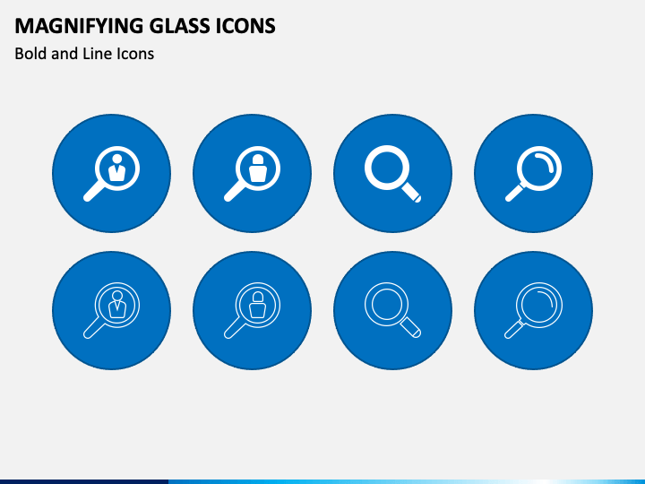 Magnifying Glass Icons PPT Slide 1