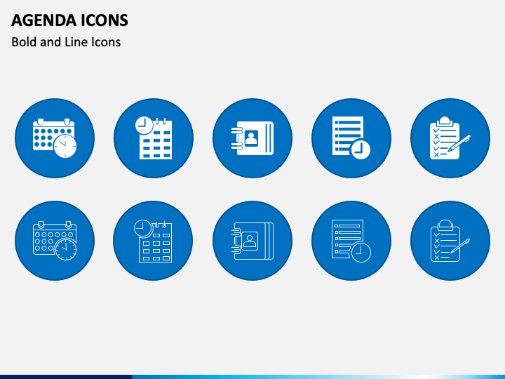 Agenda Icons PPT Slide 1
